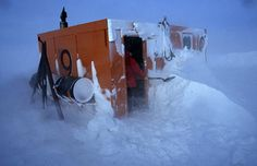 Extreme diver Norbert Wu's journey into the Antarctic underworld. Research scientist Dr Dale Stokes readies a dive hut after a blizzard, US base at McMurdo Station, Antarctica
