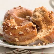 cider donuts - These cake-type doughnuts are a traditional New England harvest treat — apple-y, tangy, and delicious. Our version is baked, not fried; but don't worry, you'll never miss the extra fat! The shiny cider glaze on top is both tasty, and pretty.