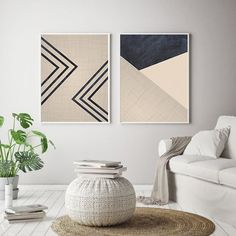 Pink Geometric Art, Minimalist Wall Art Set of Living Room Wall Prints - nimivo sites Pink Wall Art, Wall Art Sets, Wall Art Decor, Wall Decorations, Geometric Wall Art, Abstract Wall Art, Geometric Prints, Abstract Oil, Art Minimaliste