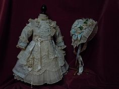 Exquisite french bebe Couturier Costume Dress w/ Petticoat Hat for 23-25' antique Jumeau Steiner Eden doll