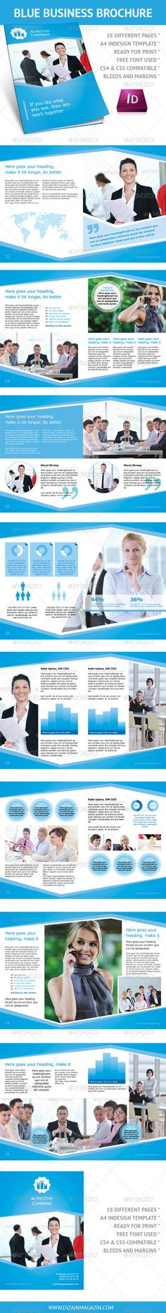Clean Blue Business Brochure A4 InDesign Template - GraphicRiver Item for Sale