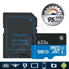 95MB/s 633x MicroSD 16G microSDHC 32GB Class 10 64GB microSDXC 128GB Memory Card Reader UHS for Drone Gopro Hero Sport Camcorder