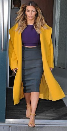 Kim Kardashian's been making the crop top and midi skirt her own, since showing off her post-baby body. www.handbag.com