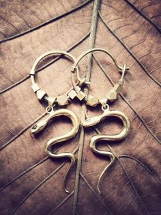 SACRED SNAKE EARRINGS  boho gypsy indie tribal by SiamicWear