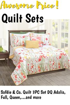 Safdie and Co. Quilt 3PC Set DQ Adalia, Full, Queen, Multi (60113.3DQ.20) ... (This is an affiliate link) #quiltsets