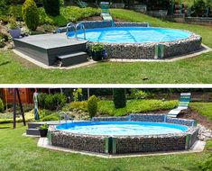 A real eye-catcher: With this creative stone frame, the steel wall ru . - A real eye-catcher: With this creative stone frame, the steel wall round pool is properly refined.