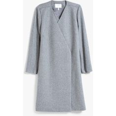Just Female Eva Coat in Grey Melange ❤ liked on Polyvore featuring outerwear, coats, over coat, gray coat, collarless coat, just female and grey overcoat