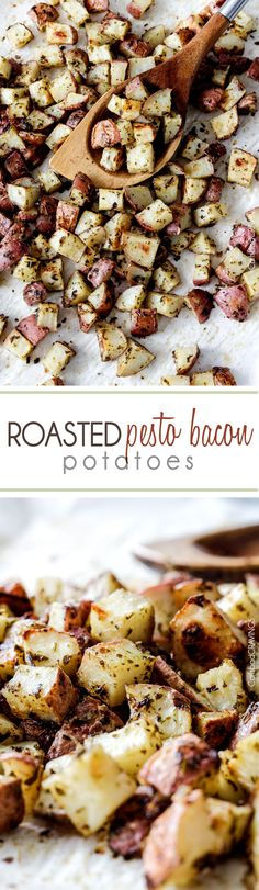 Roasted Pesto Bacon Potatoes will blow your mind with their tender, explosive flavor AND ease!  Impressive side for special occasions (like Father's Day!) but so easy you'll be making them mulitple times a week.  #roastedpotatoes #roasted #potatoes #pesto