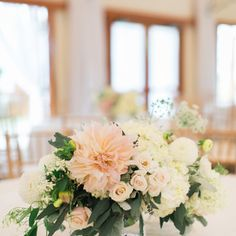 Romantic Blush Dahlia and Rose Centerpiece