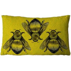 Timorous Beasties Three Bee Cushion Green ($75) ❤ liked on Polyvore featuring home, home decor, throw pillows, cushion, pillows, green, timorous beasties, green accent pillows, green home accessories and green toss pillows