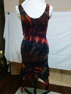 BUY IT NOW! ALWAYS FREE SHIPPING! Tie Dye Bodycon Stretch Knit Dress Pointed Hem Size Small Dark Rich Colors    eBay