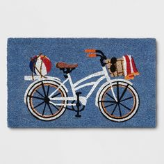White Bicycle Tufted Doormats - Threshold™ - image 1 of 3 Target Threshold, Front Door Mats, Front Porch, Coir Doormat, Beach Accessories, Neat And Tidy, Sliding Glass Door, Beach Fun, Bicycle