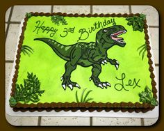 T-Rex sheet cake :) Birthday Sheet Cakes, Dinosaur Birthday Cakes, Dinosaur Party, Dinosaur Cakes For Boys, Dinosaur Food, Dinosaur Activities, Dinasour Cake, Dinasour Birthday, Third Birthday