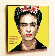 Frida Kahlo de Rivera Spain Decor Motivational Quotes Wall Decals Pop Art Gifts Portrait Framed Famous Paintings on Acrylic Canvas Poster Prints Artwork Geek Decor Wood ** Find out more about the great product at the image link.