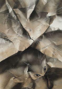 """""""Cat and Mouse"""" by Tatiana Sai (b.1957), Watercolour, ca.1980"""