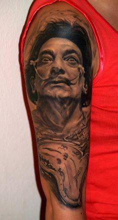 3D tattoo of Salvador Dali. A strange dude, but an incredible artist.