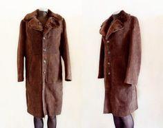 Vintage 1970's Fur Collar Suede Leather Coat Woman's