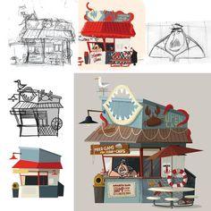 Background process, environment concept art, environment design, design ref Cartoon Background, Animation Background, Art Background, Background Process, Bg Design, Prop Design, Environment Concept Art, Environment Design, Chris Lee