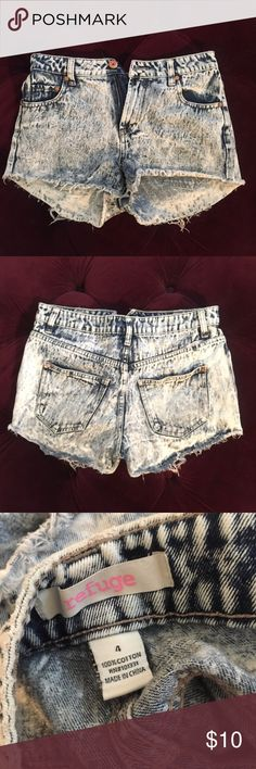 Acid Denim Wash High-Waisted Shorts High-waisted denim shorts! Super cute for summer. Shorts Jean Shorts
