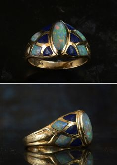 "1980s Opal and Lapis Ring, 14K, (sold)  I'm pretty sure I've never needed to start a jewelry description with ""1980s"" before.  I try to avoid buying anything newer than the 1950s.  But this ring was too good to pass up, and it definitely has its roots in Art Nouveau."