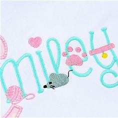 Kitty Embroidery Font - Planet Applique Inc Embroidery Alphabet, Applique Embroidery Designs, Embroidery Fonts, Alphabet And Numbers, Lower Case Letters, Baby Patterns, Sewing Projects, Kitty, Lettering
