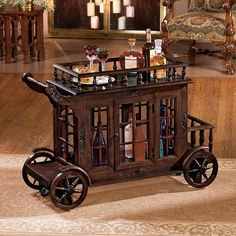 Tend bar in elegant style with the Design Toscano Cranbrook Manor Cordial Carriage . Patterned after the regal carriages once used to transport European. Bar Furniture, Furniture Design, Selling Furniture, Cabinet Furniture, Serving Cart, European Furniture, Storage Design, Cordial, Bars For Home