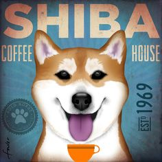 Shiba Inu dog Coffee Company illustration graphic art on gallery wrapped canvas by stephen fowler House Illustration, Illustrations, Shiba Inu, Dog Cafe, Japanese Dogs, Silly Dogs, Dog Poster, Dog Logo, Beautiful Dogs
