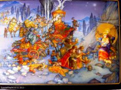"ALNIKA ""Christmas"" - box, Fedoskino lacquer painting technique."