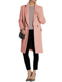 Fashion Solid Color Double Breasted Women Coat