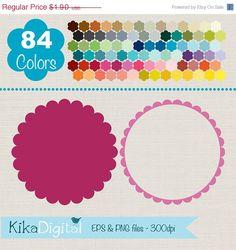 ON SALE 60% Scallop Frames, Colorful Scallop Labels, Rainbow Scallop Labels Clip Art, Huge Clipart Pack - INSTANT Downloado