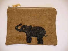 Elephant hessian case.  Handcrafted using hessian from a recycled coffee sack. Fully lined. by JuteAlors on Etsy https://www.etsy.com/uk/listing/265976979/elephant-hessian-case-handcrafted-using