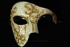 Venetian Half Face Mask Masquerade Mardi Gras 'Phantom of the Opera' Vintage Design (Silver Linning) Mens Masquerade Mask, Masquerade Ball, Masquerade Wedding, Phantom Mask, Opera Mask, Steampunk Cat, Dark Wings, Half Face Mask, Venetian Masks