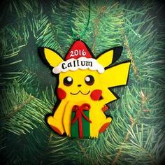 You can catch your very own personalized Pikachu this Christmas. This ornament may be personalized with the name and year of your choosing. Christmas Pokemon, Personalized Christmas Ornaments, Keepsakes, Personalized Gifts, Pikachu, Recipes, Ideas, Art, Custom Christmas Ornaments