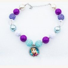 Girls Chunky Aqua Turquoise Purple FROZEN ANNA Bubblegum Necklace, Bubble Gum chunky girls necklace, Chunky Bead Necklace