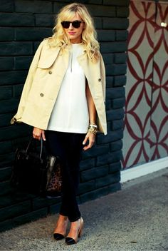 Fall wardrobe inspiration: love the shoulder jacket, spectator pumps, stacked bangles (not thin bracelets) and that leopard/black bag. Gorgeous!