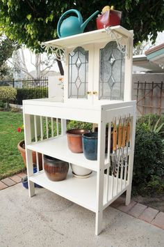 Changing Table & Stained Glass cabinet doors Repurposed to a potting bench ~ Salvaged Finds Turned Potting Bench with Tutorial