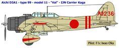 Номер: AII-236 Экипаж: пилот - F1c Ивао Ока, стрелок-радист - PO3c Цунео Минамизаки. Авианосец Кага. Удар по базе ВМС США Перл-Харбор, 7-е декабря 1941 г. Этот самолет был сбит во время атаки.