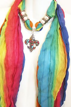 Pendant Scarf Jewelry Rainbow Ombre Fleur by RavensNestScarfJewel