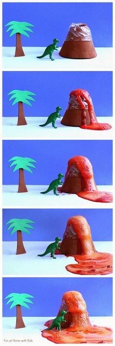 Just-add-water Erupting Volcano Kit Dinosaur Valentine for Kids - you can make this with items from The Dollar Tree! Free printables included in post. From Fun at Home with Kids Dinosaurs Preschool, Dinosaur Activities, Dinosaur Crafts, Preschool Science, Dinosaur Party, Montessori Science, Science Party, Science Projects For Kids, Craft Activities For Kids