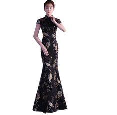 6b7618c7a9048  楽天市場 ブラック チャイナドレス マーメイドドレス 刺繍 立ち襟 ロング丈ドレス ウエディング