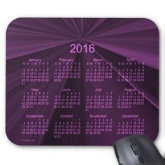 2016 Magenta Star Calendar by Janz Mouse Pad