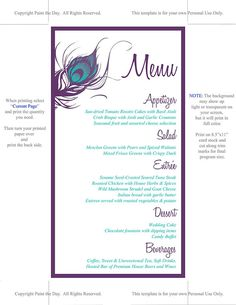 Peacock Wedding Menu Card Template Wedding by PaintTheDayDesigns