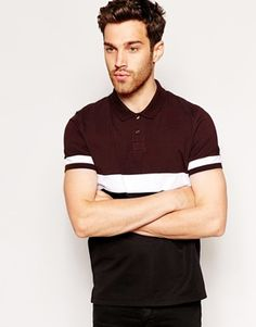 ASOS+Polo+Shirt+With+Cut+And+Sew+Mesh+Panel
