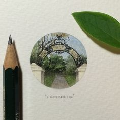 Day 305 : The two gates with brick piers and wrought-iron arches in Art Nouveau style at the lower corners of De Waal Park were built in 1899.  28 x 28 mm. #365postcardsforants #wdc624 #miniature #watercolour #painting #dewaalpark #capetown...