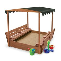 Badger Basket Convertible Cedar 4' Rectangular Sandbox with Cover - something like this without the canopy.