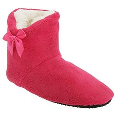 Universal Textiles Big Girls Knit Patterned Boot Slippers with Faux Fur Trim