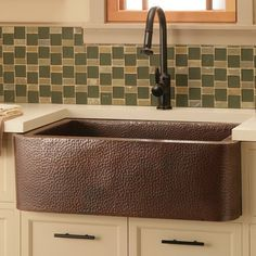 "Love the tile backsplash and the copper farmhouse sink!  ~   Native Trails Farmhouse 33"" Copper Kitchen Sink"