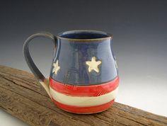 Americana Style Mug - Pottery Mug - Blue with Stars - Old Glory - by DirtKicker Pottery