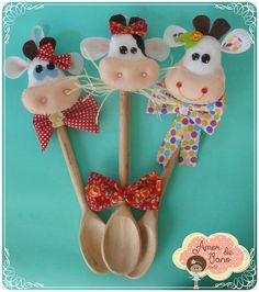 Clay Crafts, Felt Crafts, Diy And Crafts, Arts And Crafts, Spoon Ornaments, Felt Ornaments, Sewing Projects, Projects To Try, Spoon Art