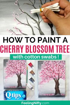 easy paintings Looking for an EASY cherry blossom tree painting tutorial? Use a canvas, acrylics & Q-Tips to make this simple step-by-step cherry blossom tree painting. Canvas Painting Tutorials, Diy Canvas Art, Diy Painting, Cotton Painting, Painting Trees On Canvas, How To Paint Canvas, Tree Painting Easy, Acrylic Painting For Kids, Abstract Tree Painting